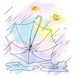 Background with collor umbrellas. Vector autumn Stock Photography