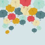 Background with collor umbrellas. Vector autumn Stock Photos