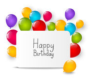 Background with color balloons. Birthday background with color balloons and copy space Royalty Free Stock Photo