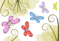 Background with color butterflies Stock Photography