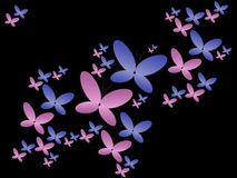 Background with color butterflies on black Stock Photo