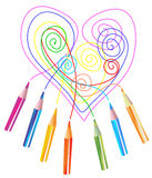 Background with color drawing pencils and heart. Over white stock illustration