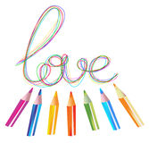 Background with color drawing pencils and love. Over white Royalty Free Stock Photography