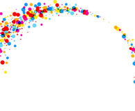Background with color drops. White paper background with arc of color drops. Vector illustration Stock Illustration