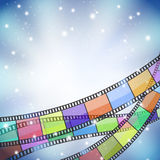 Background with color filmstrip. And stars Stock Photography