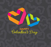 Background with color paper hearts Stock Images