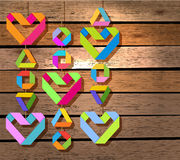 Background with color paper hearts Royalty Free Stock Image