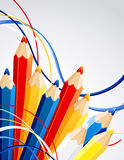 Background with color pencils. Vector illustration - background with color pencils Royalty Free Stock Photos