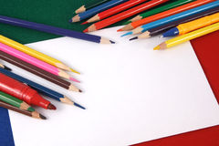 Background with color pencils Stock Images