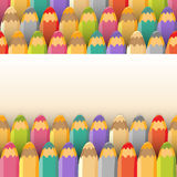Background with color pencils. Vector illustration. Stock Image
