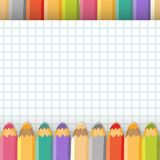 Background with color pencils. Vector illustration. Royalty Free Stock Photo