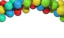 Background of colored balloons frame, 3d render. Working Royalty Free Stock Image