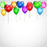 Background with colored balloons and serpentines Royalty Free Stock Photos