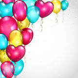 Background with colored balloons and serpentines Stock Photos