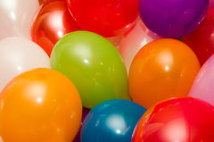 Background of colored baloons. Red, pink, green and yellow royalty free stock photos