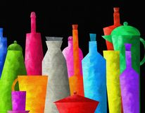 Background with colored bottles Stock Photos