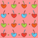 Background of colored cherry hearts Stock Photos