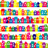 Background with colored doodle houses Royalty Free Stock Photos