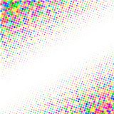 A background of colored dots of different sizes arranged with different density on white. A background of colored dots of different sizes arranged with royalty free illustration