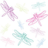 Background colored dragonflies. Vector background purple, green and blue dragonflies Stock Photo