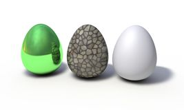 Background of colored eggs model, 3d render Stock Photos