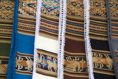 Background of colored fabrics from Bolivia ethnic market Stock Photography
