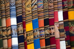Background of colored fabrics from Bolivia ethnic market Stock Image