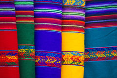 Background of colored fabrics from Bolivia ethnic market Royalty Free Stock Photos
