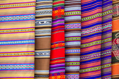 Background of colored fabrics from Bolivia ethnic market Royalty Free Stock Photo