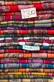 Background of colored fabrics from Indian ethnic market Royalty Free Stock Image