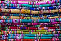 Background of colored fabrics from Indian ethnic market Stock Image