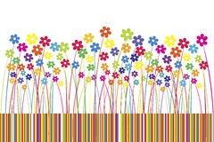Background with colored flowers and stripes Stock Photos
