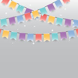 Background of colored garlands festive flags and confetti Stock Photography