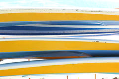 Background of colored kayaks Royalty Free Stock Photography
