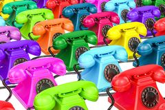 Background from colored old-fashioned phones, 3D rendering. Background from colored old-fashioned phones, 3D Royalty Free Stock Photos