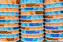 Background of colored paper cups stacked Stock Photos