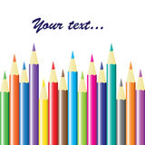 Background with colored pencils. Vector Stock Photo