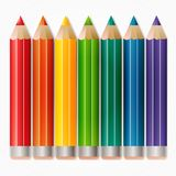 Background with colored pencils. Copy space for posters, announcements, stationery, education, daycare, preschool, scrapbook projects. Isolated on white. EPS10 Royalty Free Stock Images