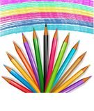 Colored pencils. The background with colored pencils Stock Photography