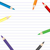 Background with colored pencils and place for your text Stock Photo