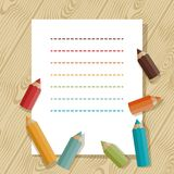 Background with colored pencils in retro style Stock Images