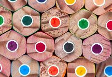Background colored pencils, stacked Royalty Free Stock Photography