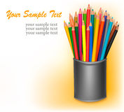 Background with colored pencils. Vector. Illustration Stock Photos