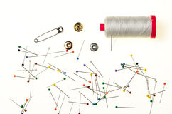 Background with Colored Pins, thread spool stock photo