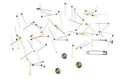 Background with Colored Pins, thread spool stock images