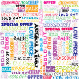 Background with colored sales and sold announcements Royalty Free Stock Photo