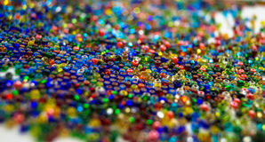 Background colored seed beads for needlework hobby Royalty Free Stock Photos