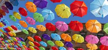 Background with colored umbrellas on one street in Timisoara 1. Background with colored umbrellas on one street in Timisoara, Romania Stock Photo