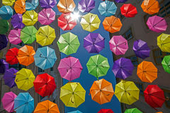 Background with colored umbrellas on one street in Timisoara Royalty Free Stock Images