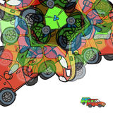 Background of colorful abstract cars with space for text Stock Images